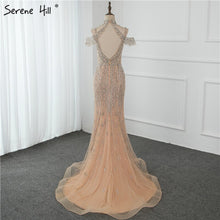 Load image into Gallery viewer, Dubai Champagne Pearls Diamond Evening Gowns Design 2020 V-Neck Sleeveless Sexy Evening Dresses Serene Hill DLA70055