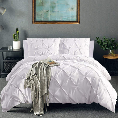 Soft Pinch Pleat Bedding Set Comforter Bedding Sets Pintuck Duvet Cover Set and Pillowcase Queen King Size Bedclothes