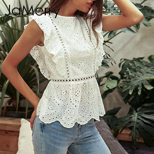 JaMerry Vintage elegant white hollow out women tank tops Ruffled holiday tops High waist summer casual female cotton tops 2019