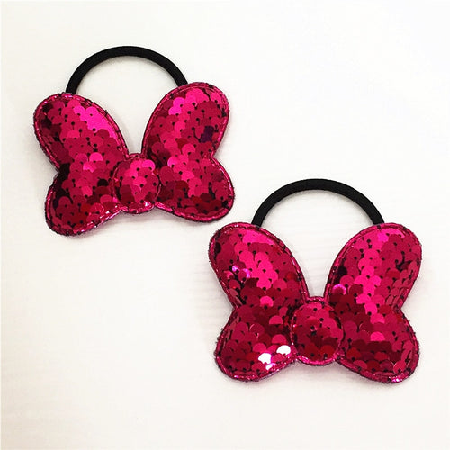 2pcs Children's Bow Hair Band popular can flipped color Fish Scale elasticity Hair circle multi-layer sequin Hair Accessories