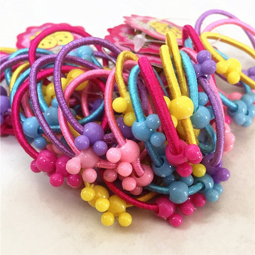 50pcs/lot Girl Mini Hair Band Fashion Candy Color Rubber Ties Ring Elastic Hair Rope Ponytail Holder For Kids Hair Accessories