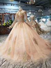 Load image into Gallery viewer, Full Sleeves Prom Dresses Luxury Muslim Pink High Neck Lace Beading Pearl Ball Gown 2020 Evening Formal Party Walk Beside You