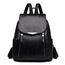 Load image into Gallery viewer, Women Backpack PU Female backpacks Vintage Leather School Bags Large Capacity School Bag for Girls Double Zipper Shoulder Bags