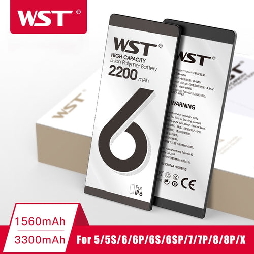 WST High Capacity Phone Battery for iPhone 6 6s 7 8 Plus 5 5s X Replacement Batteries Internal Bateria with Full Tool Kits