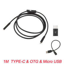 Load image into Gallery viewer, 7mm Endoscope Camera Flexible IP67 Waterproof Micro USB Inspection Borescope Camera for Android PC Notebook 6LEDs Adjustable