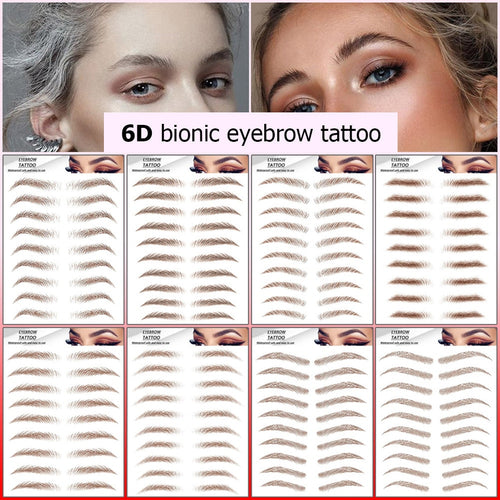Magic 6D Hair-like Eyebrow Tattoo Sticker Bionic Eyebrows Waterproof Lasting False Eyebrows Makeup Water-based Brow Stickers