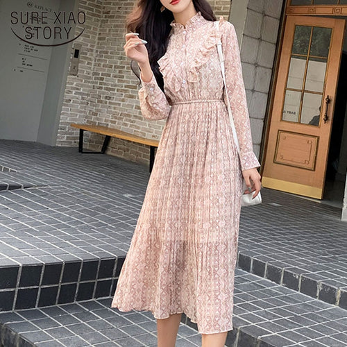 Spring 2020 Sweet Stand Collar Floral Pleated Chiffon Dresses with Base Dress Women Long Sleeve Empire Midi Party Dress 8318 50
