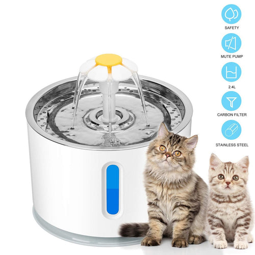 2.4L Automatic Pet Cat Water Fountain Ultra Quiet USB Dog Drinking Fountain Drinker Feeder Bowl Pet Drinking Fountain Dispenser