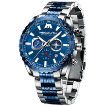 Load image into Gallery viewer, MEGALITH Sports Watches Men Aircraft Pointer Luminous Quartz Watch 30M Waterproof Blue Full Steel Military Wrist Watch With Box