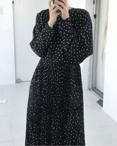 women dots print maxi dress pleated three quarter sleeve female casual straight dresses chic ankle length vestidos (Black One Size)