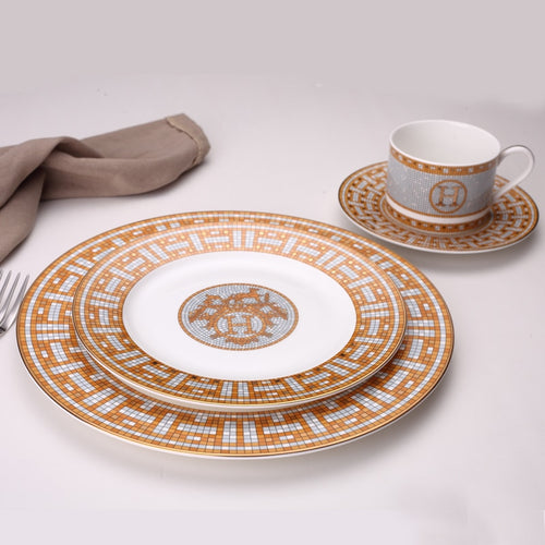 A Ceramic Dinner Plates Geometric Pattern Ceramic Dish  Charger Plate Yellow Grid Dinnerware Plate Set Serving Dish Bone China