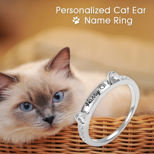 Personalized pet lover jewelry ring cute christimas gift cat kitty Pet name ring Letter personalized gift