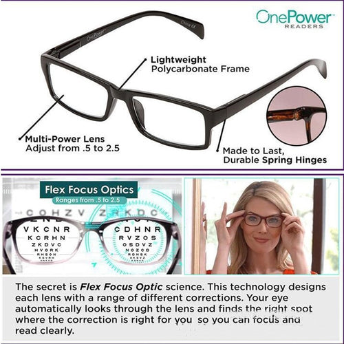 2019 Newest Mulifocal One Power Readers High Quality Women Men Auto Adjusting Bifocal Reading Glasses +50 To +250 Freeshipping