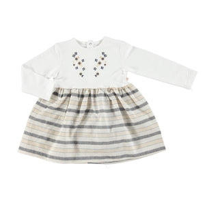 ebebek BabyZ Baby Girl Embroidered Striped Dress