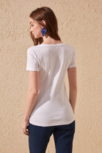 Load image into Gallery viewer, Trendyol 100 Cotton Rib Collar Basic Knitted T-Shirt TWOSS20TS0138