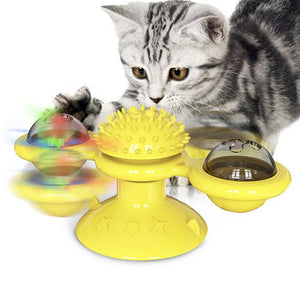 Pet Toys Cat Top Interactive Puzzle Training Turntable Windmill Ball Whirling Toys For Cats Kitten Play Game Cat Supplies