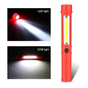 Multifunction COB LED Mini Pen Light Work Inspection LED Flashlight Torch Lamp With the Bottom Magnet and Clip Black/Red/Blue - Fresh Deals Shop