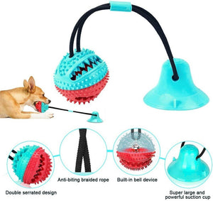 Multifunction dog Chew toys squeaking with Suction Cup Doggy Pull Ball for Dogs Cats Cleaning Tooth Food Dispenser pet supplies