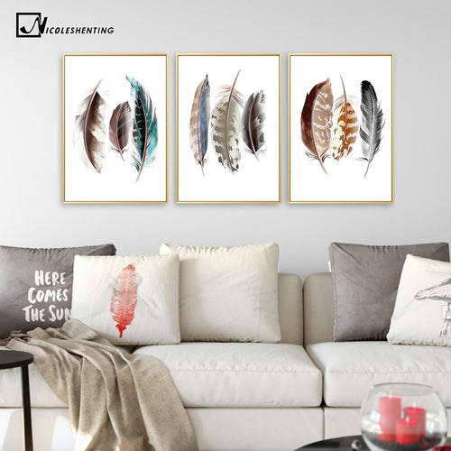 Watercolor Feathers Abstract Poster Canvas