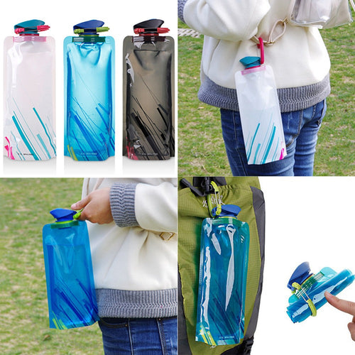 Reusable 700mL Sports Travel Portable Collapsible Folding Drink Water Bottle