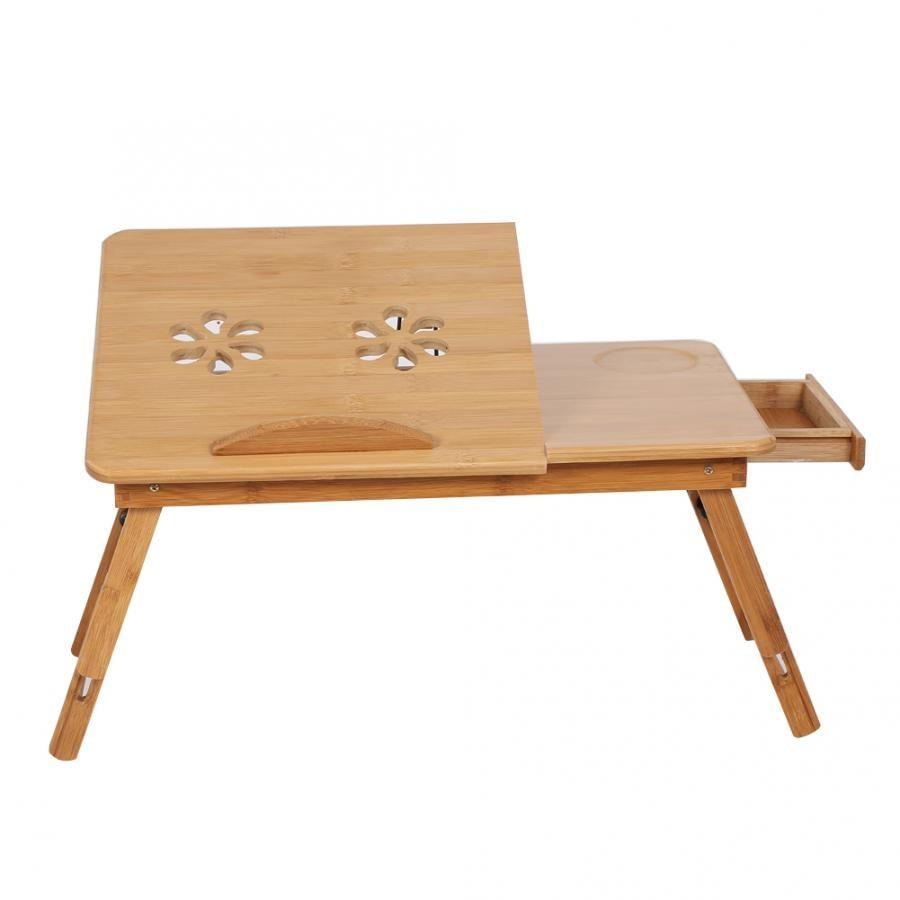 Adjustable Bamboo Rack Shelf Dormitory Bed Lap Desk Two Flowers Book Reading Tray Stand - Fresh Deals Shop