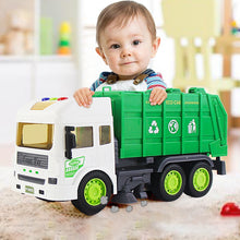 Load image into Gallery viewer, 1:14 simulation inertia garbage sanitation engineering vehicle children simulation sound and light toy garbage truck toy.