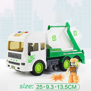 1:14 simulation inertia garbage sanitation engineering vehicle children simulation sound and light toy garbage truck toy.