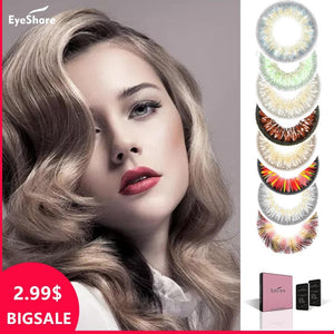 BIG SALE 1 Pair  Lemon Glass Color Series Big Eyes Cute Contacts Colored Contact Lenses Cosmetic Contact lens - Fresh Deals Shop