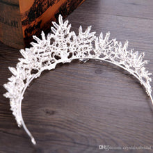 Load image into Gallery viewer, Cheap Silver Bling Tiaras Crowns Wedding Hair Jewelry Crown Crystal Fashion Evening Prom Party Dresses Accessories Headpieces