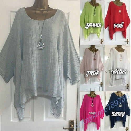 Women Long Sleeve Blouse Cotton Linen Kaftan Baggy Tops Clothing Plus Size