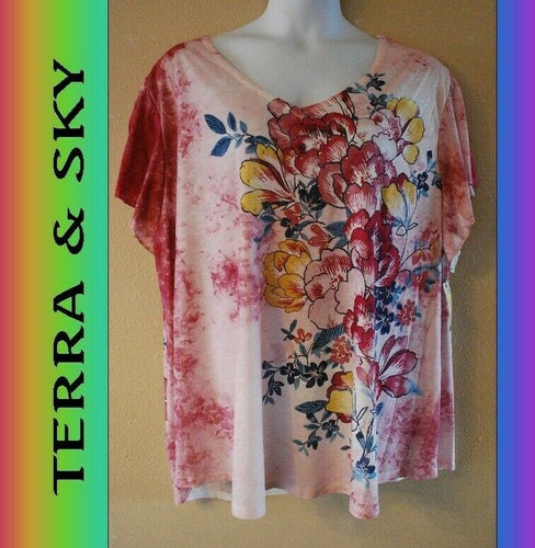 WOMEN'S PLUS SIZE 3X 24W 26W TERRA & SKY STYLISH SUMMER PRINT TEE - CLOTHING NEW