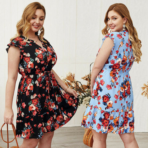 Womens Plus Size Flower Dress V-neck Midi Skirt Casual Summer Clothing Elegant