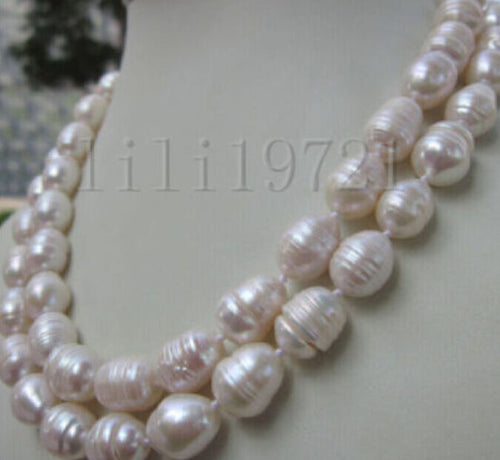 12-13MM WHITE FRESHWATER Cultured BAROQUE PEARL NECKLACE 34 INCH