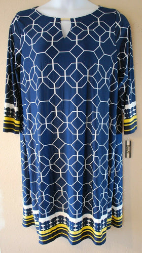 LADIES PLUS SIZE 2X 18W 20W NAVY, GOLD CAREER PARTY DRESS CLOTHING - NEW