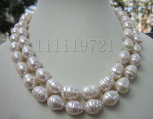 9-12MM WHITE FRESHWATER Cultured BAROQUE PEARL NECKLACE 35 INCH