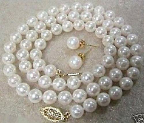 8MM AAA White South Sea Shell Pearl Necklace Earring Set 18