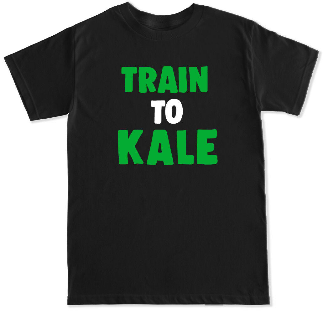 TRAIN TO KALE WORKOUT GYM FITNESS WEIGHTS RUN LIFT CARDIO FUNNY MENS T SHIRT