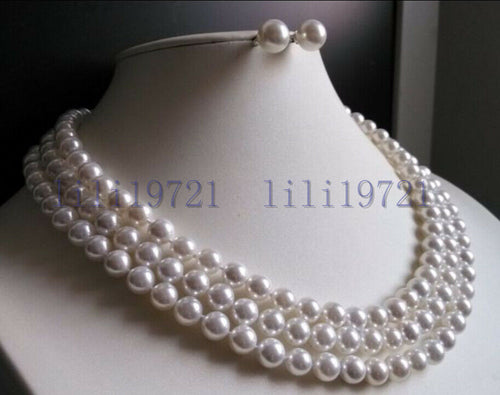 3 Rows 8mm white south sea shell pearl necklace Earrings 17-19