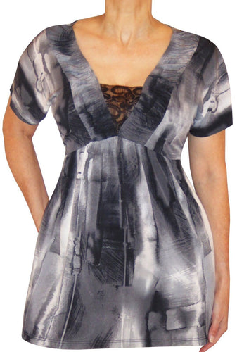XB2 Funfash Plus Size Clothing Gray Black Women's Top Shirt Made in USA 1x 18 20