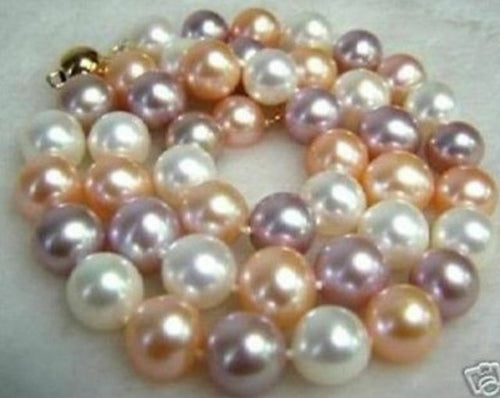 8MM AAA+ Multi-Color South Sea SHELL PEARL NECKLACE 18