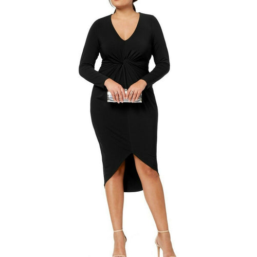 SOPRANO NEW Women's Plus Size Twist-front High-low Bodycon Dress TEDO