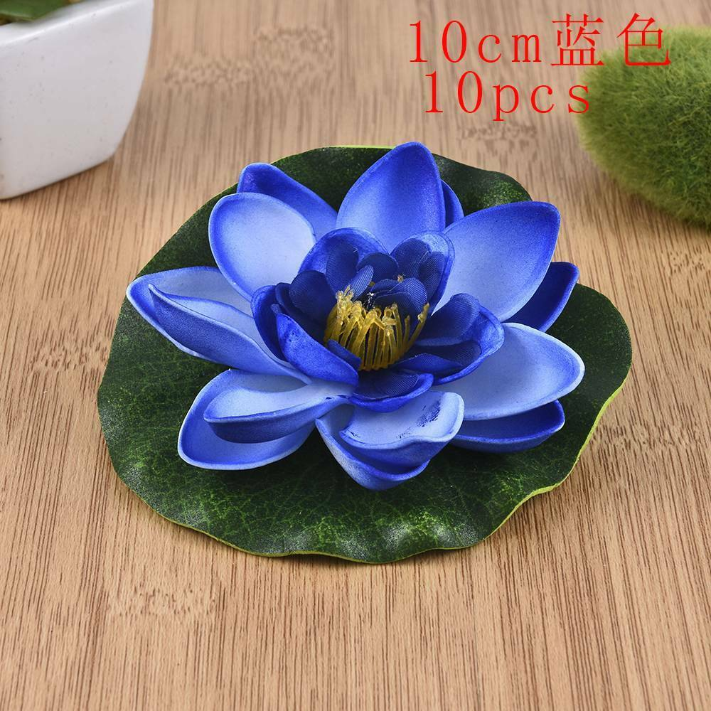 10Pcs Artificial Fake Lotus-Leaf Flowers Water Lily Floating Pool Plants Decors