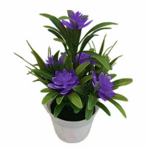 Outdoor Flower Fake False Plants Flowers Artificial Garden Decor w/ Pot 11x18cm