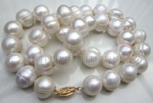 BEAUTIFUL 11-12MM WHITE SOUTH SEA BAROQUE PEARL NECKLACE 18INCH