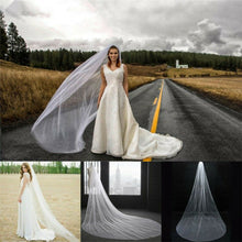 Load image into Gallery viewer, US 3M Ivory White Cathedral Length Lace Edge Bride Wedding Bridal Long Veil+Comb