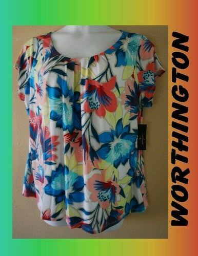 WOMEN'S PLUS SIZE 3X 22W 24W FLOWING, VIBRANT WORTHINGTON BLOUSE - CLOTHING NEW