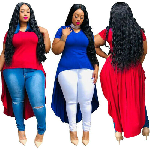 Womens Plus Size Tops Irregular T Shirt High Low Clothing Summer Short Sleeve