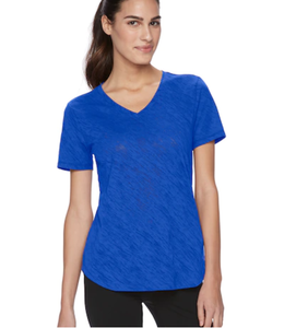 Tek Gear V Neck T Shirt, Women's Size L, Blue, Athletic, Gym, Workout Gear S16 P