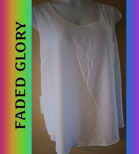 WOMEN'S PLUS SIZE 3X 22W 24W WHITE WOVEN BLOUSE SUMMER TANK - CLOTHING NEW