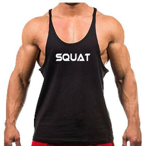 Gym Rabbit Men's Bodybuilding Singlets Stringer Printed Fitness Workout Clothing